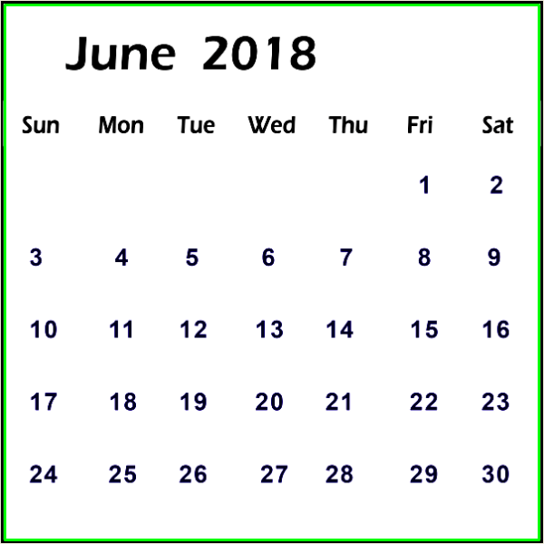 June 2018 Calendar Portrait Printable