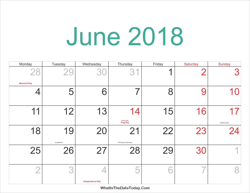 June 2018 Calendar Printable Holidays