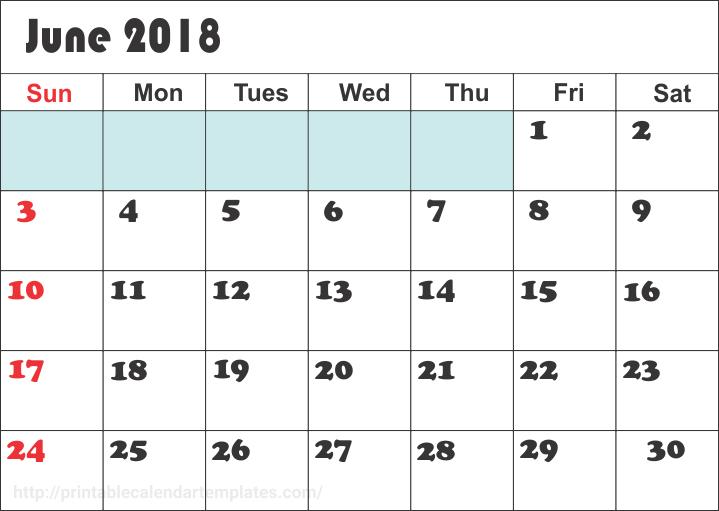 June 2018 Calendar Printable Template
