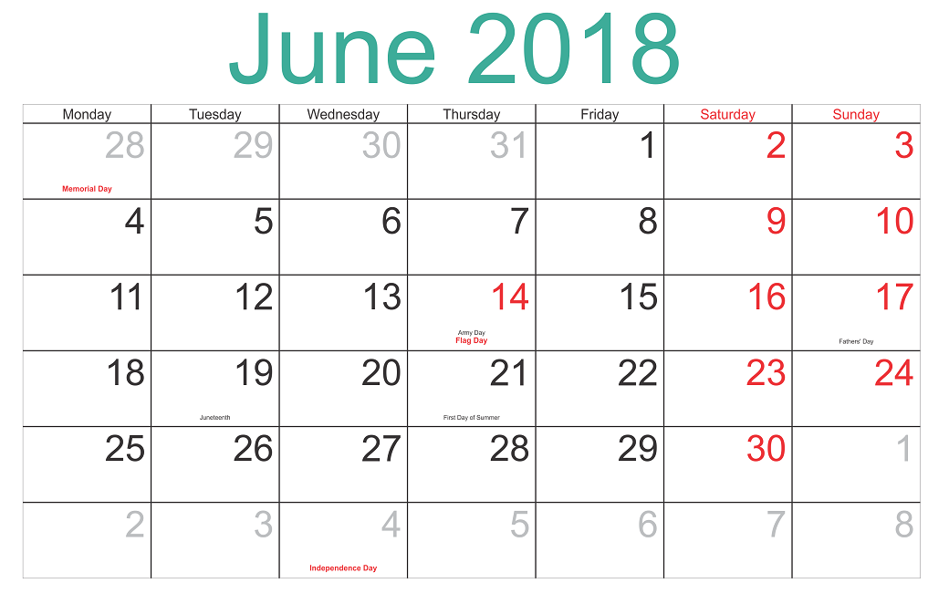 June 2018 Calendar Printable word file with Holiday