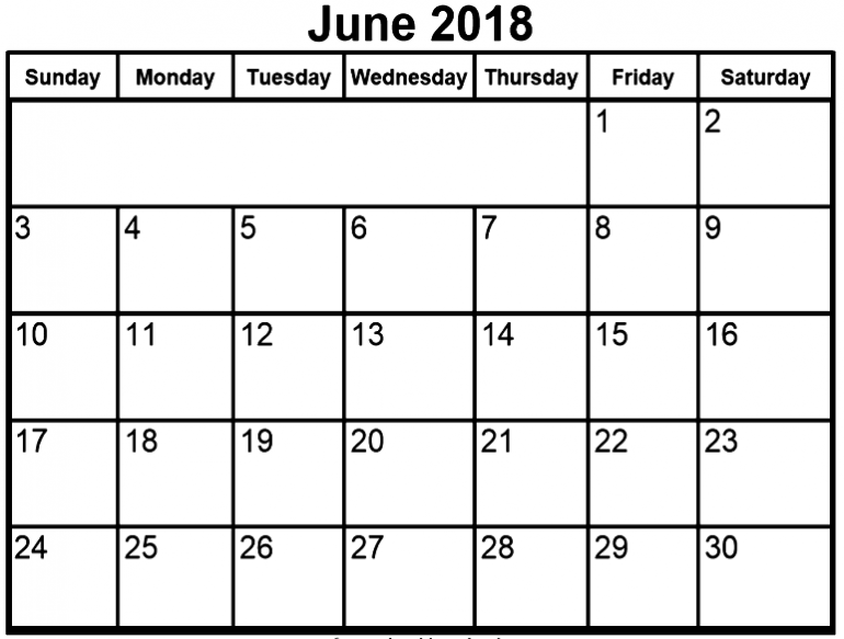 June 2018 Calendar Template Excel