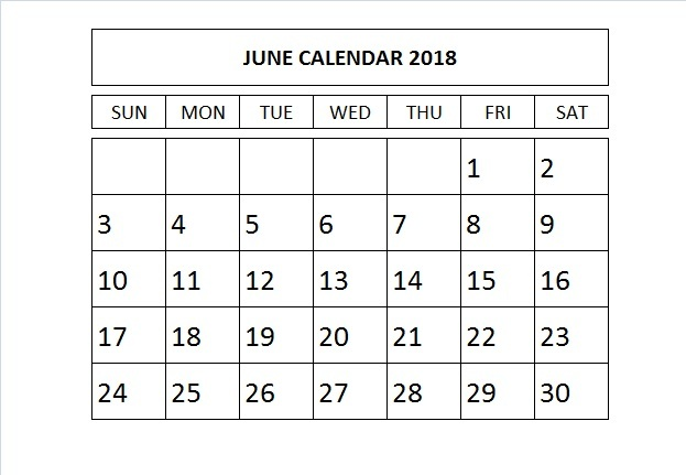 June 2018 Calendar Template Word