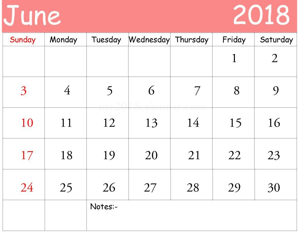 June 2018 Calendar Tumblr