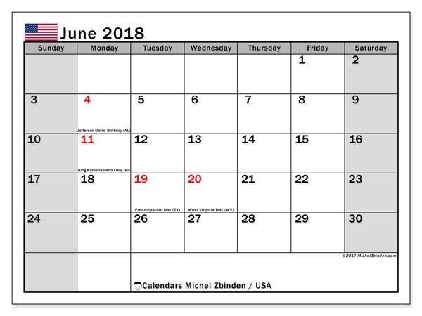 June 2018 Calendar USA