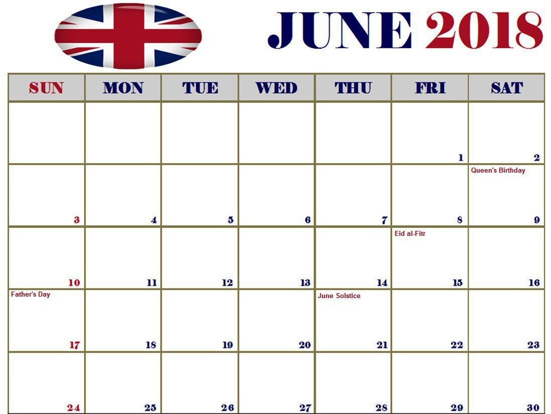 June 2018 Calendar With Bank Holidays In UK