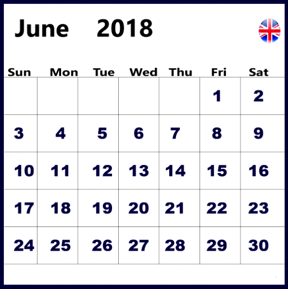 June 2018 Calendar With Holidays United Kingdom UK
