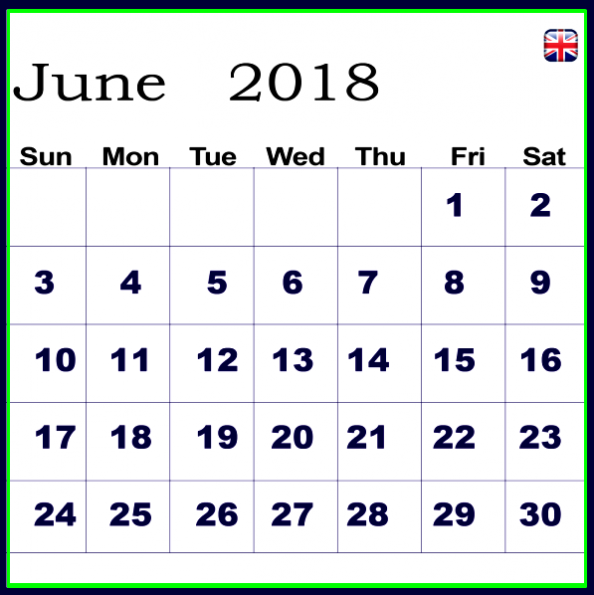 June 2018 Calendar With UK Holidays