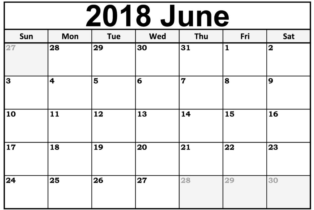 June 2018 Calendar Word Document
