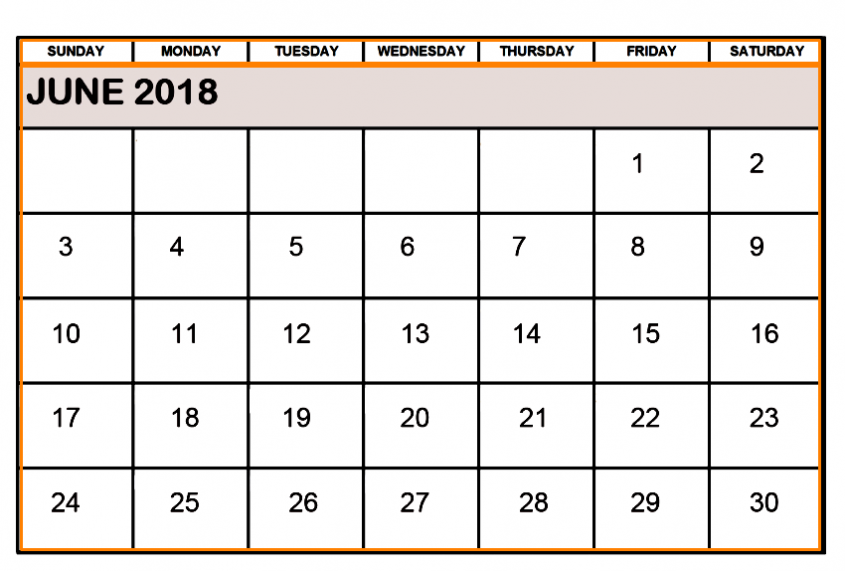 June 2018 Calendar Word Printable