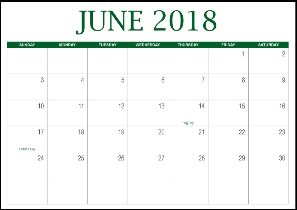 June 2018 Calendar Word with Holidays
