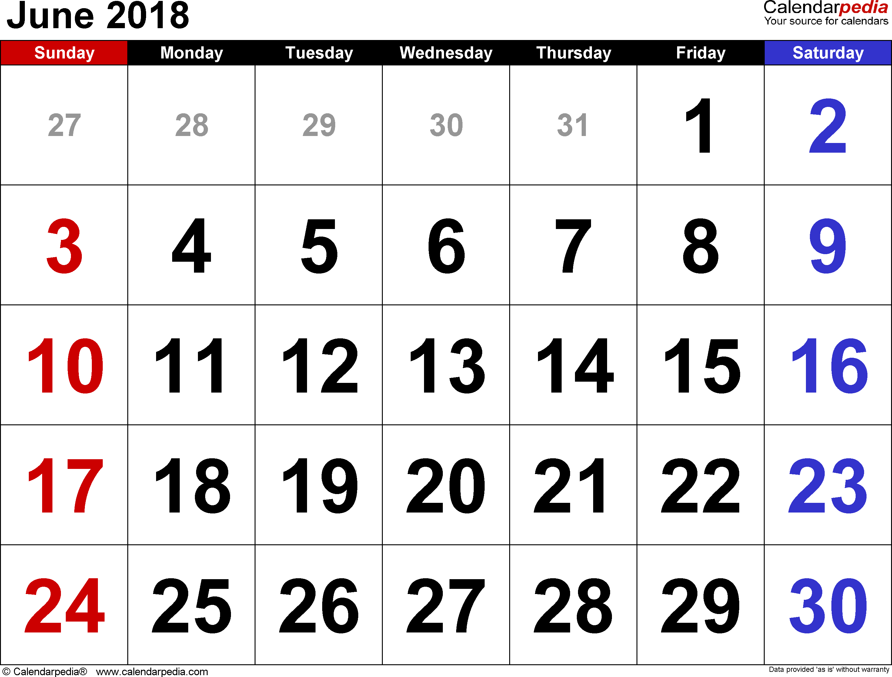 June 2018 Calendar for Word Excel