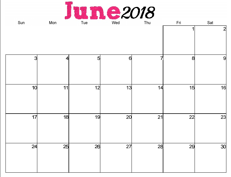 June 2018 Calendar to Print