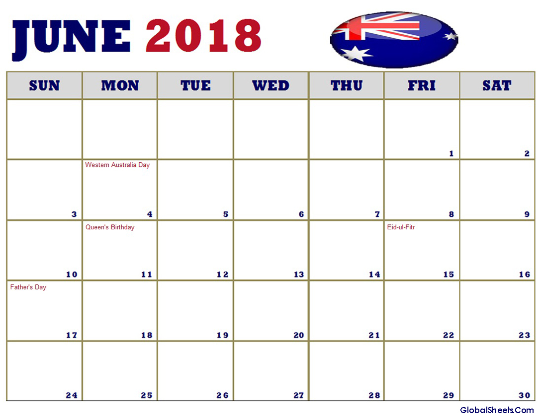 June 2018 Calendar with Holidays Australia