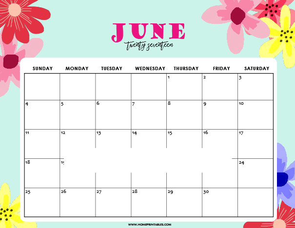 June 2018 Cute Calendar For Kids