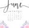 June 2018 Cute Calendar Page