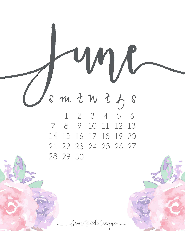 June 2018 Cute Calendar