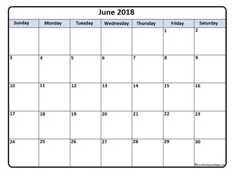 June 2018 Document Calendar