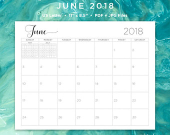 June 2018 Editable Calendar Landscape