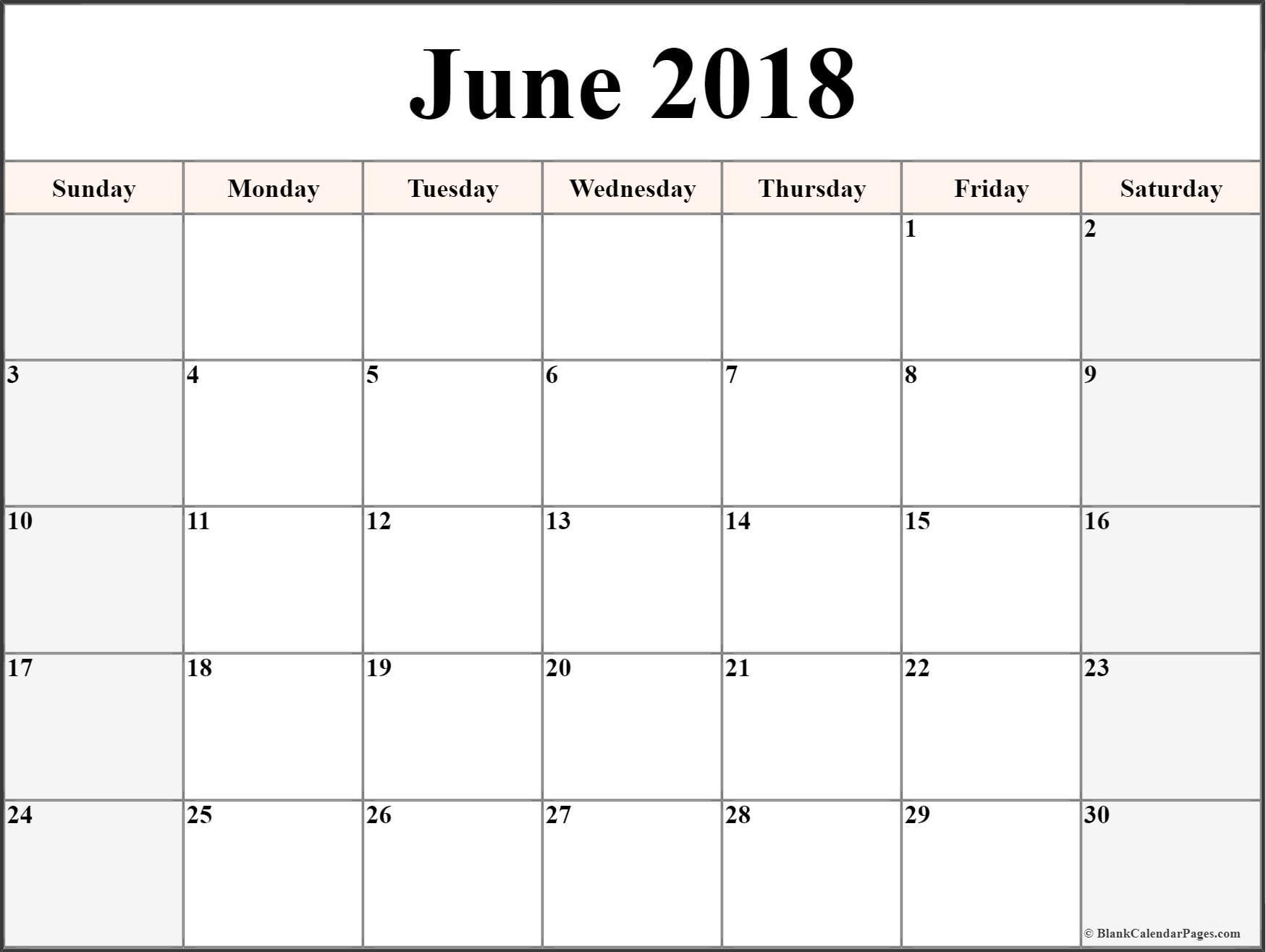 June 2018 Free Printable Blank Calendar