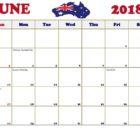 June 2018 Holidays Calendar Australia