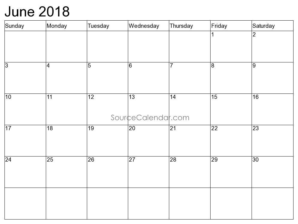 June 2018 Landscape Calendar
