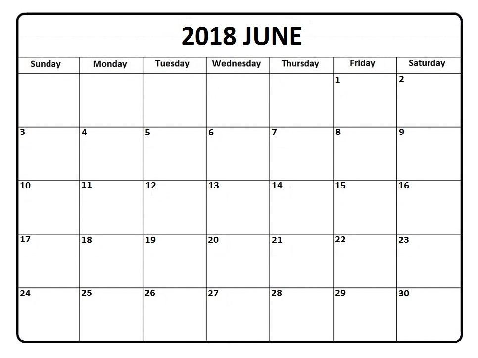 June 2018 Monthly Calendar In Pdf, Word, Excel Format