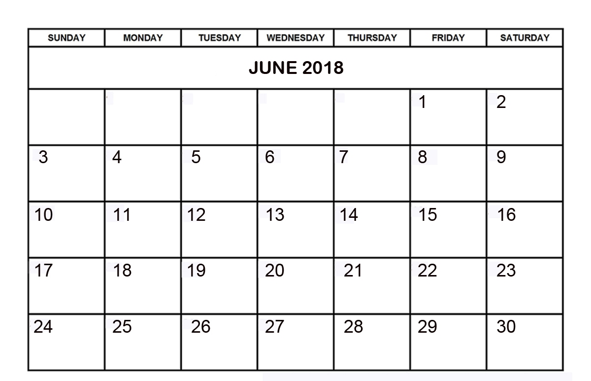 June 2018 Monthly Calendar With Notes