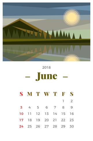 June 2018 Monthly Wall Calendar
