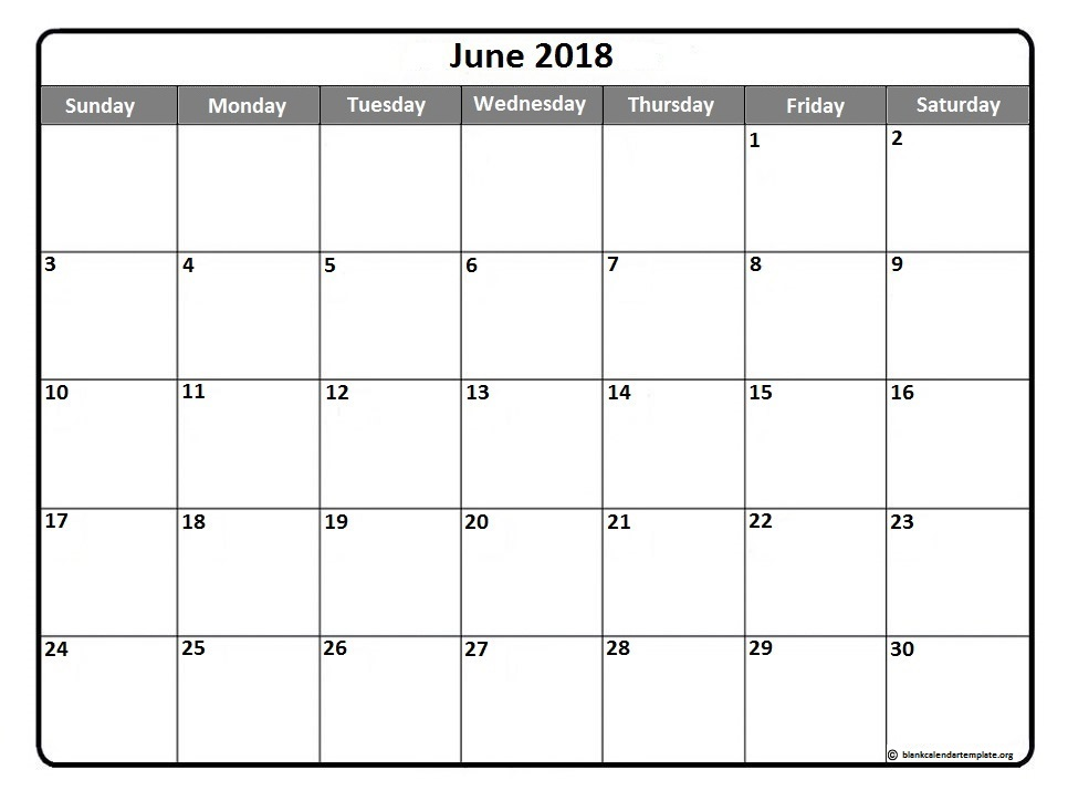 June 2018 Printable Calendar Document