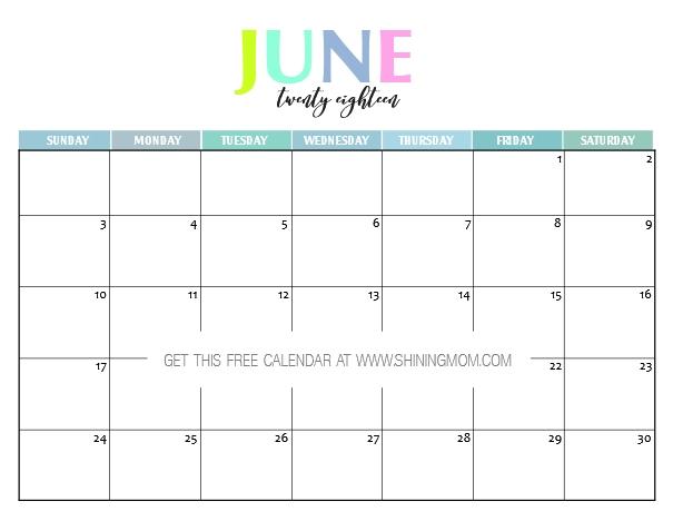 June 2018 Printable Calendar Free
