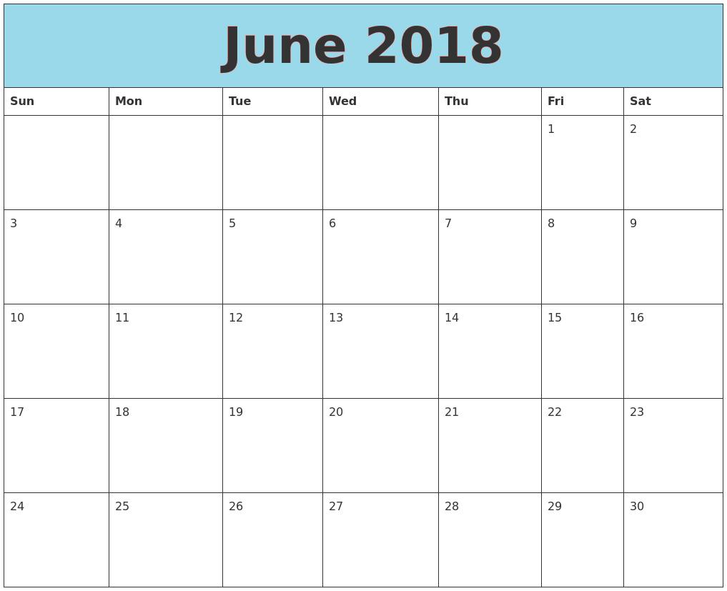 June 2018 Printable Calendar Page