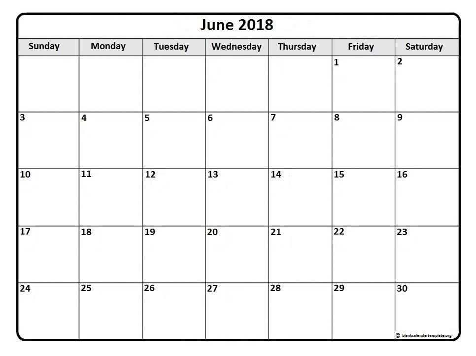 June 2018 Printable Calendar Template