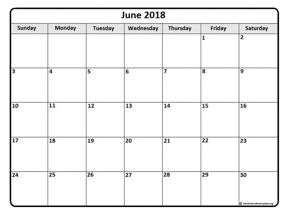 June 2018 Printable Calendar Template