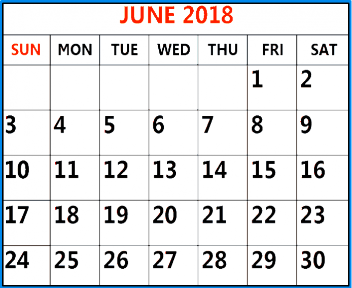 June 2018 Printable Calendar USA