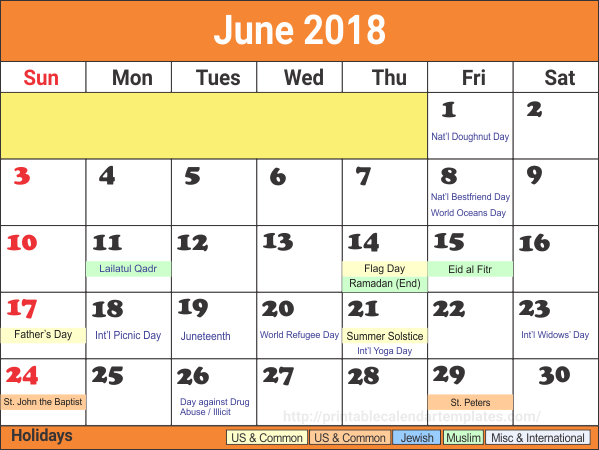 June 2018 Printable Calendar With Holidays