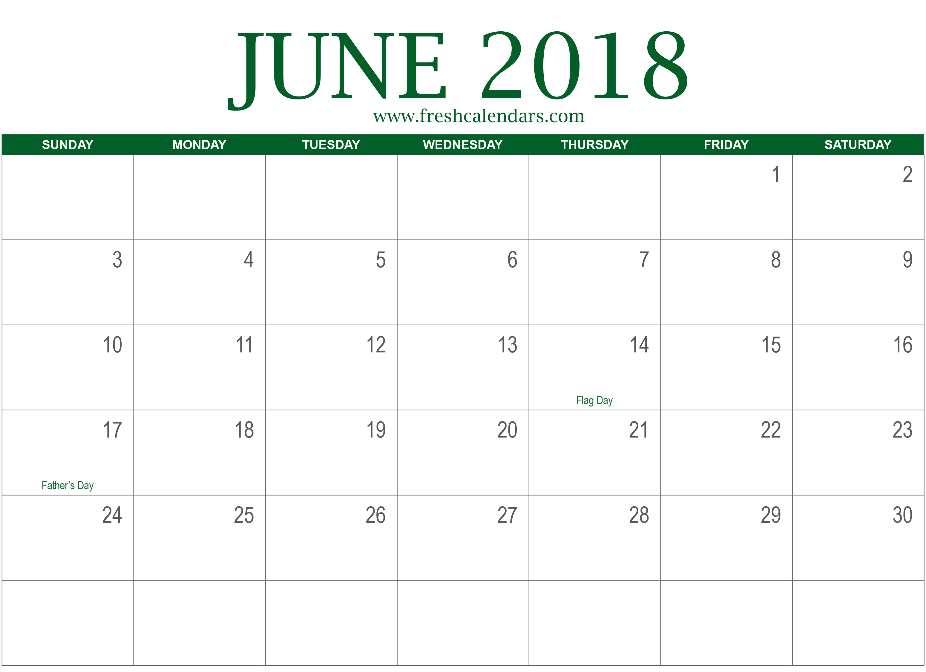 June 2018 Printable Calendar with Holidays Template