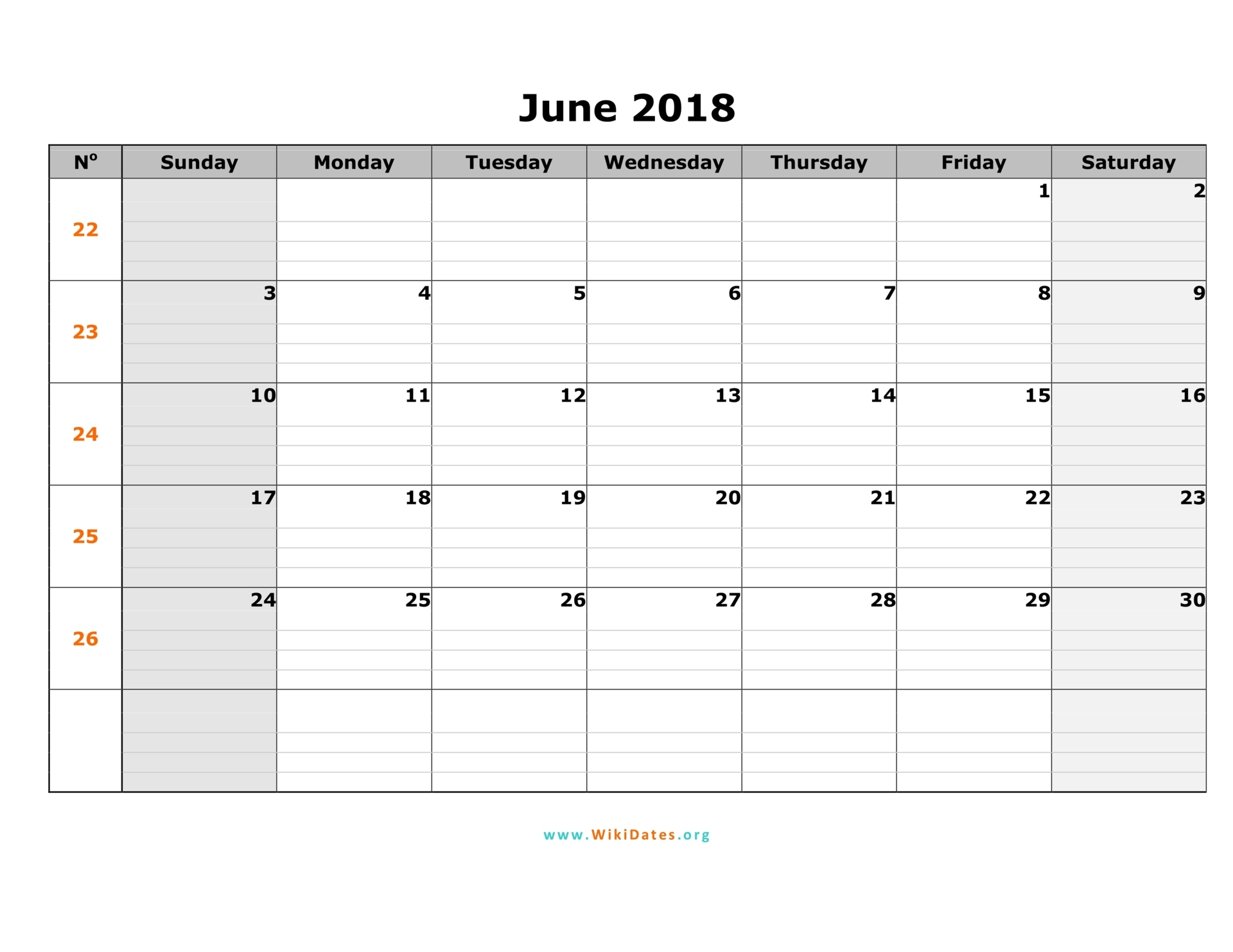 June 2018 Tumblr Calendar with Notes