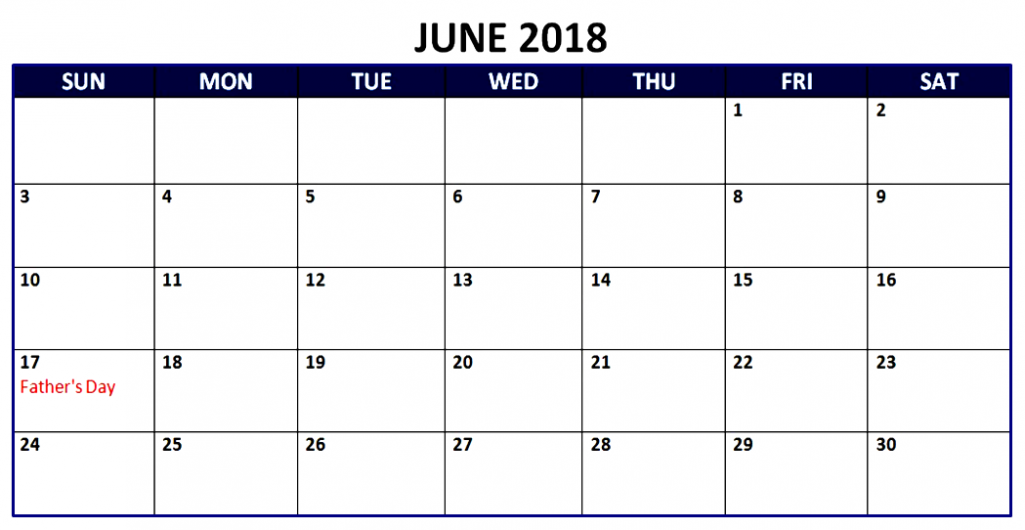 June 2018 UK Holidays Calendar
