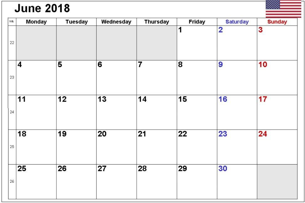 June 2018 USA Calendar