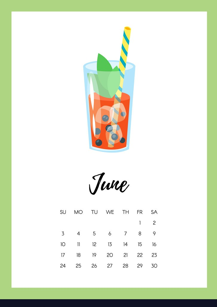 June 2018 year calendar page