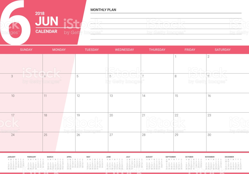 June 2018 Yearly Calendar Pink