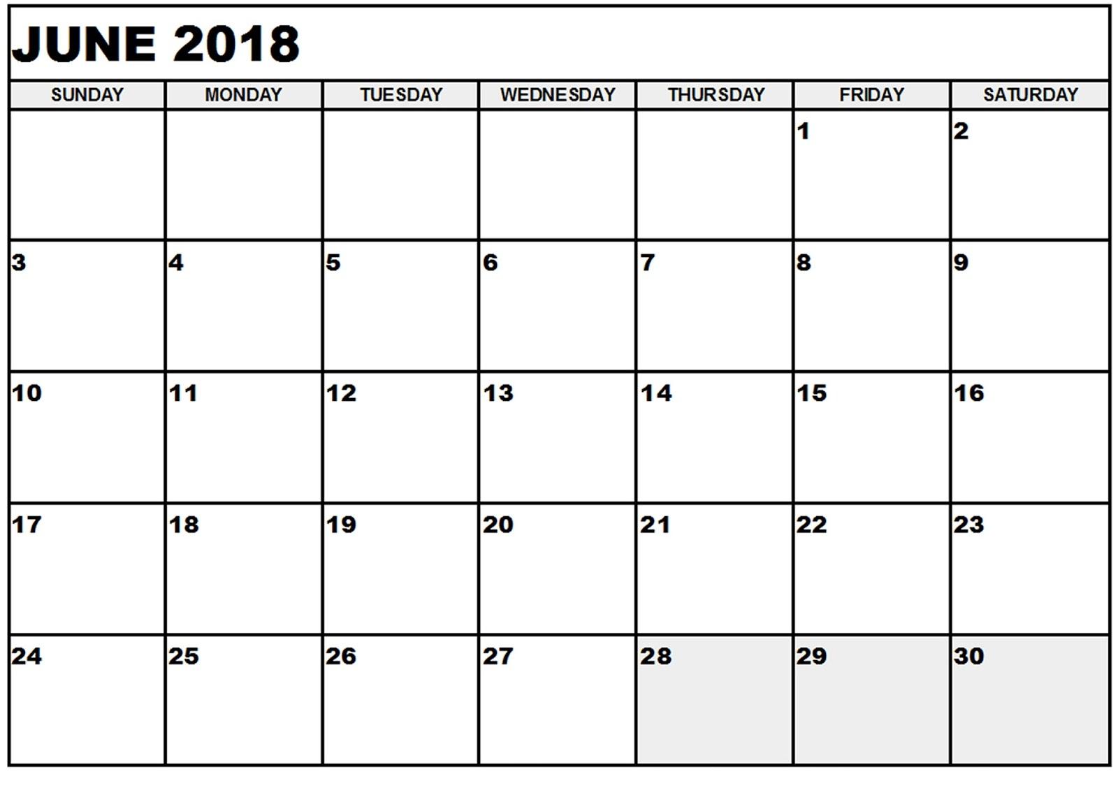 June Calendar 2018