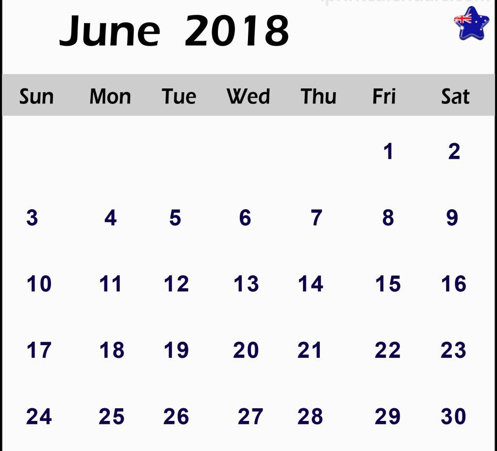 June Calendar 2018 Australia