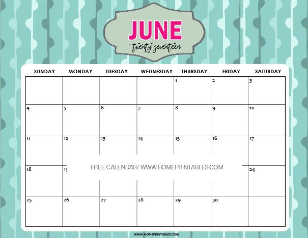 June Calendar 2018 Cute