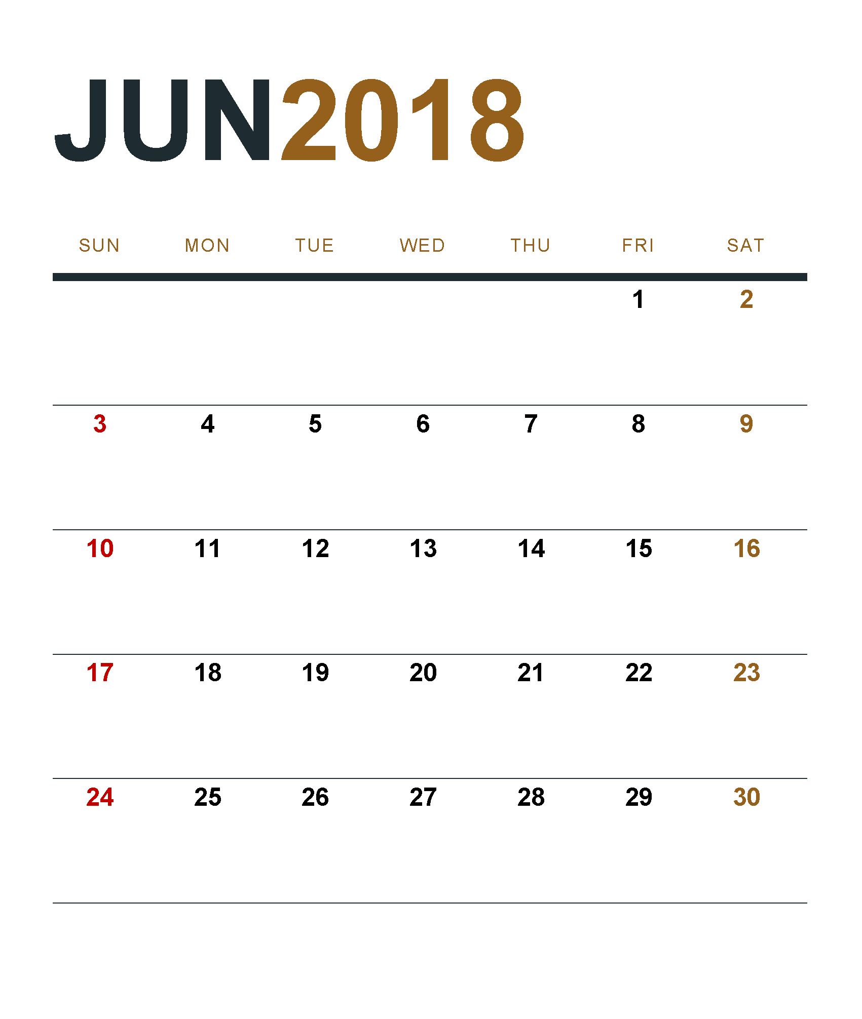 June Calendar 2018 Download Free