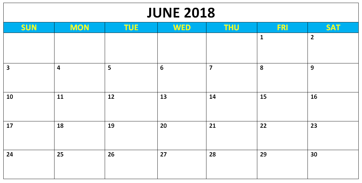 June Calendar 2018 Download