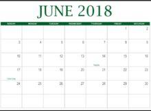 June Calendar 2018 Portrait