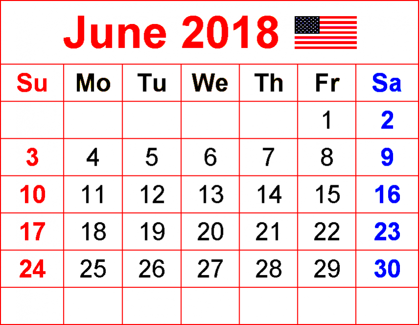 June Calendar 2018 USA with Holidays