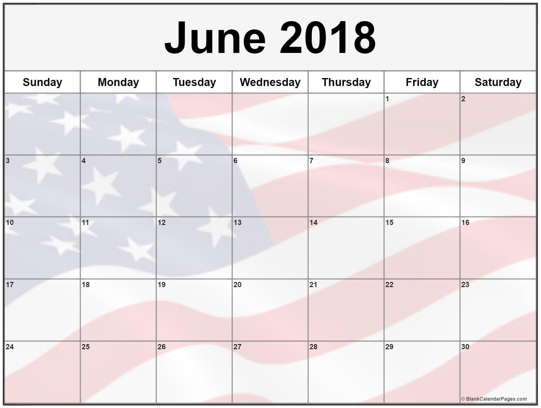 June Calendar 2018 USA