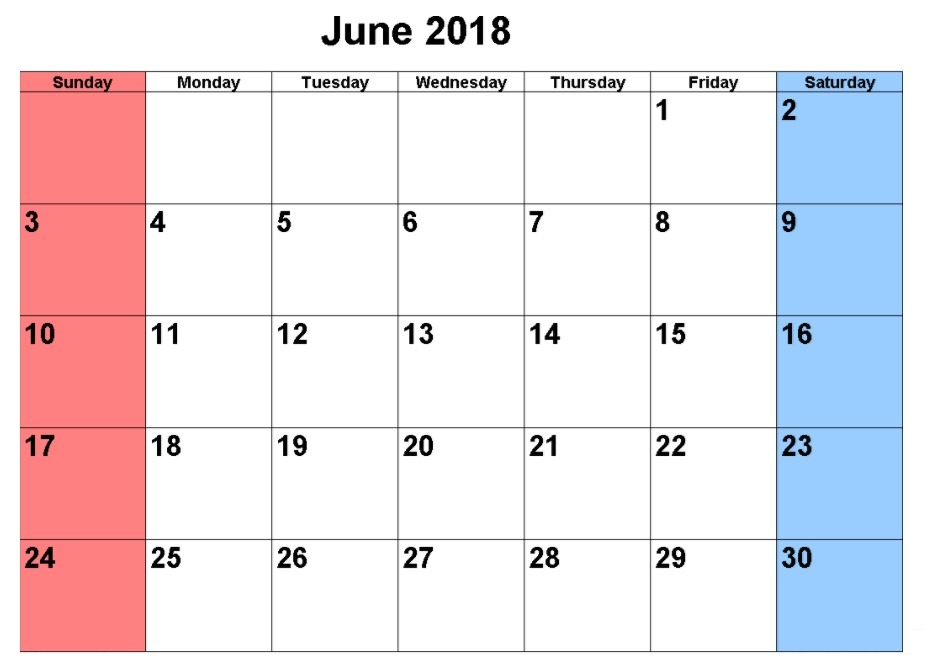 June Calendar 2018 With Bank Holidays